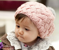 Wholesale Rabbit ball wool cap Pineapple pattern children hat Autumn winter hats color