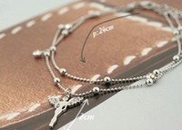 Wholesale Fashion silver plated double chain angel pendant anklet foot chain Foot Jelwelry For Women anklet stock MG1