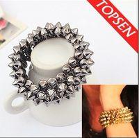 Acrylic, Resin, Lucite beaded layered bracelets - Rock Punk Multi layered Spike Rivet Elastic Stretch Beaded Bracelet Silver Black Bronze Tone