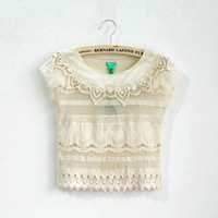 Wholesale baby girl kids crochet crocheted tops shirt shawl pullover cardigan lace shirt knit knitted hollow flower floral cotton tutu tops wave