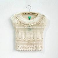 baby girl kids crochet crocheted tops shirt shawl pullover c...