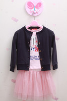 Wholesale Hot Girl s autumn Suits baby Set suit Long sleeve coat T shirt skirt kids s pink clothing sets