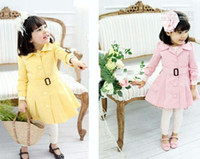 Wholesale Hot sale Girl s outerwear Girl s Windproof coat Sweater jacket Girl s Windproof with bow belt