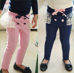 Wholesale Girls Autumn bowknot pants lace Casual Pants trousers Girl s Clothing girls pants