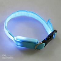 Wholesale 6 colors Glow LED Cat Dog collars Pet Flashing Light Up Safety Collar do mix order