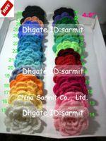 achat en gros de free appliques crochet fleurs-50pcs / lot 4.5-5.5 '' Bricolage à la main Bricolage Fleurs Appliques Coudre Décorations Arcs Artifici Artisanat Livraison gratuite Crochet Grandes Fleurs Bandeau