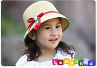 Girl Spring / Autumn 4-10 Years baby sun hat girls kids caps summer cherry straw hat red ribbon children bucket hat Beach Cap RT488