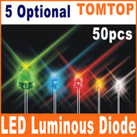 Wholesale 50Pcs set mm Red green yellow white blue Light Discrete LED bulb Light Luminous Diode