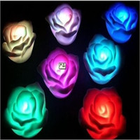 Wholesale Night Lights Rose Shape Colorful Button Cell With Swith PVC apply to Bedroom Gifts Bars Cafes Weddin