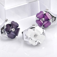 Wholesale 3 COLORS FOR U CHOICE Lady Elastic Mini Finger Ring Flower Crystal Quartz Watch