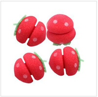 Red sponge hair curler ball - sample order GAGA Hair Curler LOVELY Strawberry Balls Soft Sponge Hair Curler Rollers