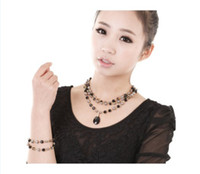 Wholesale 12 sets Fashion rosary necklace jewelry set summer agate chain necklace and bracelet set NL