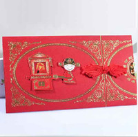 Valentine's Day   Chinese Invitation Cards Red Wedding Invitations With Envelope 100Pcs Lot FFF