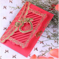 Valentine's Day   Invitation Cards Rose Design Red Wedding Invitations With Envelope 100Pcs Lot FFF