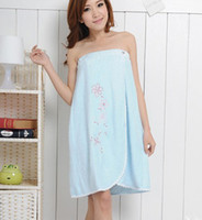 Wholesale Women Bamboo fiber Lace Bathrobes Embroidered Blue NEW