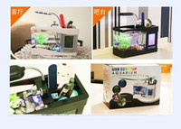 Wholesale Mini USB LCD Desktop Lamp Light Fish Tank Aquarium LED Clock LED Clock Pen Holder Black White