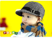 baby grid - Kids Hats Baby Hats Children Caps Boy Girl Caps Fashion wool grid Hat Duck tongue berets Cap