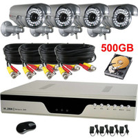 Bullet 4  Outdoor 600TVL High Resolution IR Camera CCTV System Network 4CH H.264 DVR HDD