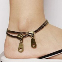 Wholesale Fashion Jewelry Zipper Anklets Golden Punk Ankle Chain