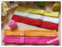 Wholesale 30pcs inch Snap back Baby Headban Elastic Hairband Girl s Hair Ribbon Knit Lace Head band Wrips