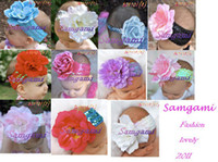 Headbands   Wholesale - M-13-9 SAMGAMI Children's Hair Accessories headband flower 10pcs lot ship at June
