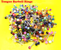 Wholesale 200Pcs Multicolor acrylic tongue barbell rings mixedlot colorful piercing body jewelry