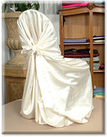 Wholesale 100 IVORY satin universal chair cover for banquet party