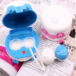 Wholesale 50pcs electronic contact lens case automatic cleaning frog prince lens case