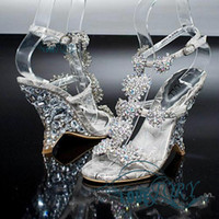Free shipping New Diamond Crystal Shoes Sandals With Wedges ...