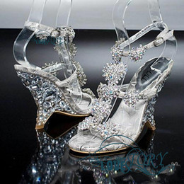 Wholesale New Diamond Crystal Shoes Sandals With Wedges Princess High Diamond Shoes For Women s Shoes Wedding Shoes