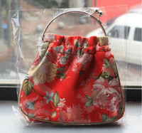 Wholesale Chinese elements make up bag package brocade embroider Silk fabrics process zero purse handbag