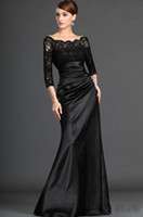 Wholesale Custom Made Off Shoulder Sleeve Black Lace Satin Mother Dress A Line Mother of the Bride Dress