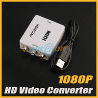 Wholesale 1080P Full Mini HDMI Video Audio Signal to AV CVBS Converter Adapter For TV VHS VCR DVD