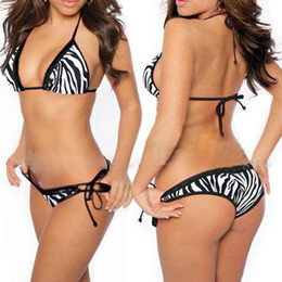 Wholesale Retail amp sexy Bikini Ladies Swimwear Swimming BLACK zebra Tie Back DK3008 ONE SET