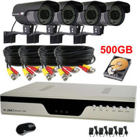 Bullet 4  High Resolution 600TVL Waterproof CCTV Camera Security System 4CH H.264 DVR 500G HDD