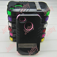 Wholesale Hard Plastic Silicone Holster Metal Stand Clip Case Armour Cover For iPhone S G DHL Unique