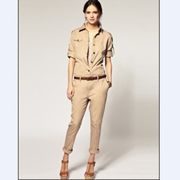 Wholesale 2012 modern women jumpsuits lapel long sleeve upper and long pants suits summer overall playsuits