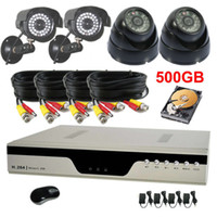 Dome 4  High Resolution 600TVL Security Camera System 4CH Network H.264 DVR 500GB HDD