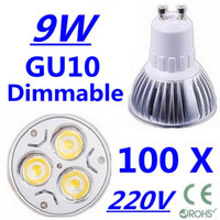 Wholesale 100X High power CREE GU10 x3W W V Dimmable Light lamp Bulb LED Downlight Led Bulb Warm Cool Whi