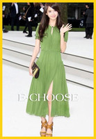 Chiffon Round Ankle Length 2012 New Arrival Green Top Quality Chiffon Slim Ruffle Long Dress Maxi Dress Boho Beach Dress
