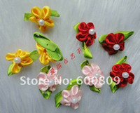 Wholesale 300pcs Satin Ribbon Flower Rose with pearl sewing wedding appliques U pick Color