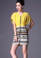 2012 New Fashion Dresses Color stitching V- Neck Silk Women's...