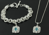 Wholesale Women s jewelry silver plated crystal rectangle style necklace amp bracelet set PT1060
