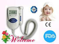 Wholesale 2012 New Blue Pocket Fetal Doppler Baby Heart Monitor MHz with LCD Display with Free Gel