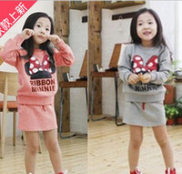 Wholesale baby RIBBON Minnie suit baby girls long sleeved set girls bow sweater skirt suit sport suit