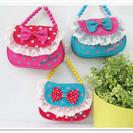 Wholesale 2015 Children s Bags Kids Hangbags Girls Bead Chain Messenger Bag Bow handbag Baby Dot Lace bags Cheap z