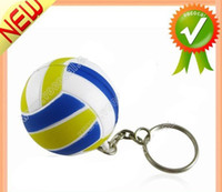 Wholesale New Cute Blue Rubber Mini Volleyball Shaped Key Chain Mini Order