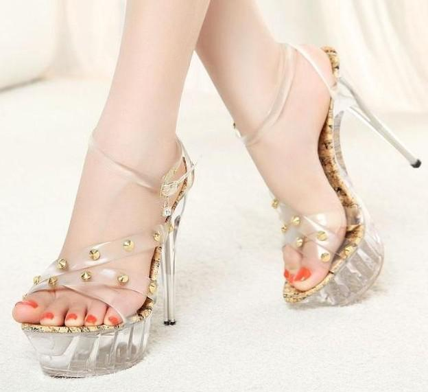 Summer 2012 New Shoes Transparent Crystal Waterproof Ultra ...