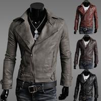 korean leather jacket - Hot Men Leather Jacket NEW Man Leather jacket Loose coat Leather clothing Korean Menswear