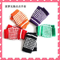 Wholesale 100pairs Women gloves Winter warmth mitten fingerless pineapple half computer gloves multi color